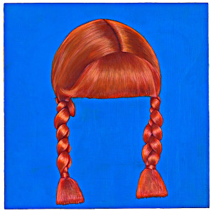 "Red Braids 12"" x 12' Oil on Wood Panel"