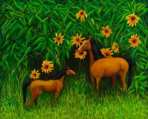 Horses Oil on wood panel. 24 x 18 inches