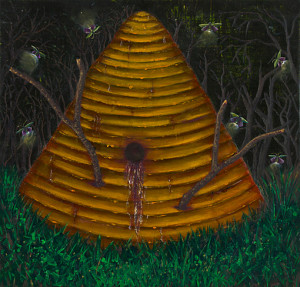 Hive Oil on canvas. 18 x 18 inches