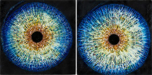 Eyes 2 (diptych) Oil on wood panels. 24 x 12 inches
